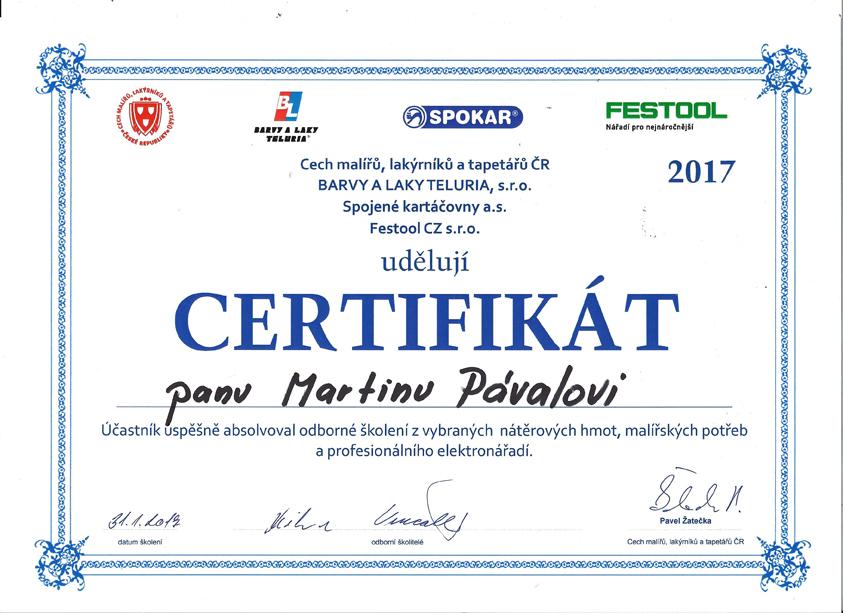 MALZED - Certifikát 2017